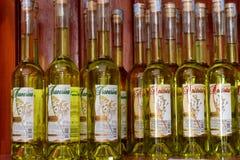 Flessen druivenbrandewijn Stock Foto's