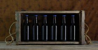 Flessen in een doos Royalty-vrije Stock Afbeeldingen