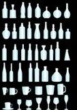 Flessen en glazen Stock Foto's
