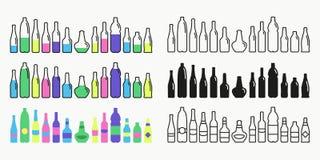 Flessen en glazenpictogram vastgestelde verschillende stijl Royalty-vrije Illustratie
