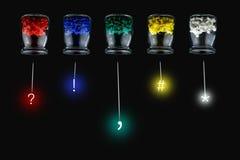 Flessen en spijkers en symbolen Stock Afbeeldingen
