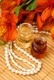 Flessen essentiële olie Stock Foto's