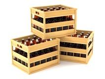 Flessen in houten kratten Stock Afbeeldingen