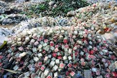 Flessen in kringlooppost Stock Foto