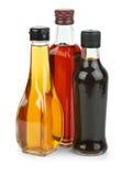 Flessen met appel en rode wijn Royalty-vrije Stock Foto's