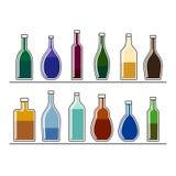 Flessen met dranken Royalty-vrije Stock Fotografie