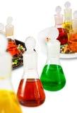 Flessen met gekleurde vloeistof en pillen royalty-vrije stock foto