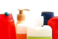 Flessen met gel en shampoo Stock Fotografie