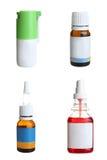 Flessen met geneesmiddelen, collage Stock Foto's