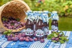 Flessen met kruidige pruimsaus Royalty-vrije Stock Foto