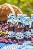 Flessen met kruidige pruimsaus Stock Afbeeldingen