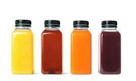 Flessen met verschillende dranken stock afbeeldingen