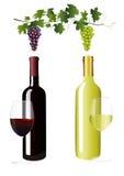 Flessen met wijn royalty-vrije illustratie