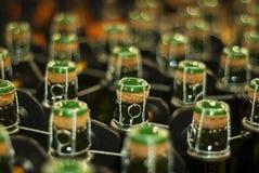 Flessen mousserende wijn, bier of cider stock fotografie