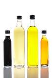 Flessen olijfolie en vineg Stock Fotografie