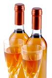 Flessen passitowijn met drinkbekers Stock Afbeelding