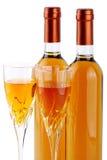 Flessen passitowijn met wijnglazen Stock Foto