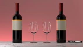 Flessen rode wijn, glazen, roze achtergrond royalty-vrije stock foto's