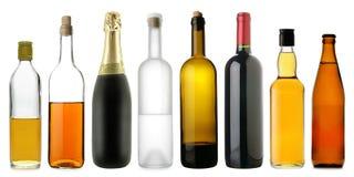 Flessen van alcoholische dranken Royalty-vrije Stock Afbeelding