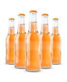 Flessen van frisdrank op wit wordt geïsoleerd dat Royalty-vrije Stock Afbeelding