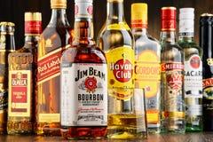 Flessen van geassorteerde sterke drankmerken Stock Afbeelding