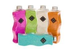 Flessen van gezondheid en schoonheidsproducten Stock Foto