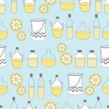 Flessen van olievaas en citroen-kuuroord in het land Naadloos herhaal patroon stock illustratie