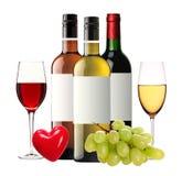 Flessen van rode, roze en witte geïsoleerde wijn en wijnglazen Stock Fotografie
