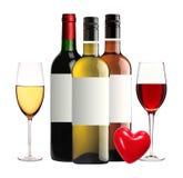 Flessen van rode, roze en witte geïsoleerde wijn en wijnglazen Royalty-vrije Stock Afbeeldingen