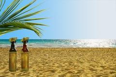 Flessen van Tequila op het strand Stock Afbeeldingen