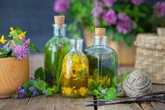 Flessen van tint en het helen kruiden royalty-vrije stock afbeeldingen
