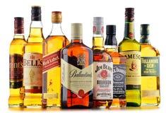 Flessen van verscheidene whiskymerken van de V.S., Ierland en Schotland Stock Foto's