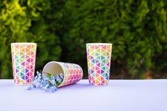 Flessen vers gedrukt sinaasappel en bessensap die zich op een houten dienblad op een kleurrijke turkooise blauwe picknicklijst be stock foto