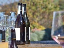 Flessen wijn en glazen met het Langhe-platteland in B stock foto