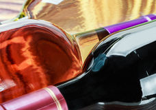 Flessen wijn van verschillende soorten Stock Afbeeldingen