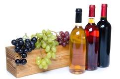 Flessen wijn voor een houten doos met druiven Stock Foto's