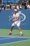 Pratiche di Andy Roddick del campione del Grande Slam per l'US Open a re National Tennis Center di Billie Jean Immagini Stock Libere da Diritti