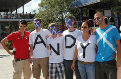 Fan di Andy Murray pronti per la partita finale all'US OPEN 2012 a re National Tennis Center di Billie Jean Fotografie Stock Libere da Diritti