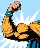 Flessione del braccio del supereroe. Immagine Stock