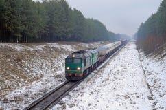 Flete el tren diesel Fotos de archivo libres de regalías