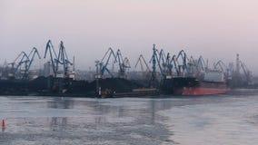 Flete los contenedores y los depósitos de gas en los muelles en las importaciones/exportaciones y el negocio logísticos Puerto co almacen de video
