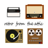 Flete retro illustration, receiver, recorder, player with vinyl records and radiogram. Vector Stock Images
