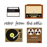 Flete retro ilustracja, odbiorca, pisak, gracz z winylowymi rejestrami i radiogram, Obrazy Stock