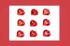 Fletley des décorations rouges de Noël de coeurs images libres de droits