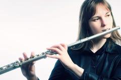 Fletowy instrument orkiestry gracz Fotografia Stock