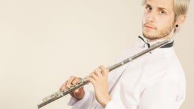 Fletowy muzyczny bawić się flecisty muzyka wykonawca Zdjęcie Stock