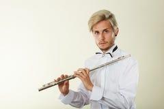 Fletowy muzyczny bawić się flecisty muzyka wykonawca Obraz Royalty Free