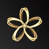 Fleur abstraite au néon d'or sur le fond noir Images stock