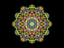 Fleur abstraite colorée multi de mandala de flamme, modèle rond ornemental sur le fond noir Thème de yoga illustration stock