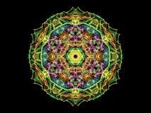 Fleur abstraite colorée multi de mandala de flamme, modèle rond ornemental sur le fond noir Thème de yoga illustration de vecteur